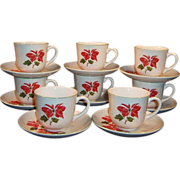 Sets of FOUR: Cuthbertson Poinsettia Cups & Saucers (2 Sets Available)
