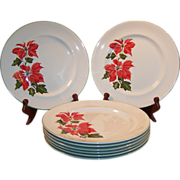 """Sets of FOUR: Cuthbertson Poinsettia 10 1/4"""" Dinner Plates (2 Sets Available)"""