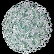 "14"" Green & White Hand Crocheted Doily"