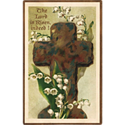 REDUCED Lily of the Valley & Cross Antique Easter Postcard