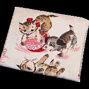 SOLD Vintage 1950's Children's Print Kitten and Puppy Dog Cotton Fabric