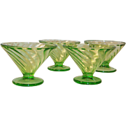 Set of 4:  Federal Glass Diana Swirl Sherbets