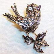 SALE Signed ART: Two Tone Bird on Bough Pin