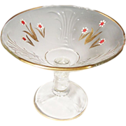 Clear Hand Painted & Gilded Glass Compote