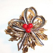 Signed ART: Christmas Holly & Bow Two Toned Pin