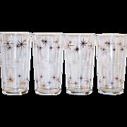 Atomic Gold & White Star Burst Drinking Glass Tumblers (Set of 4)