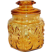 1960's  Imperial Glass Atterbury Scroll Amber Canister