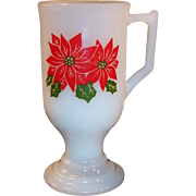 Pedestal Poinsettia Milk Glass Irish Coffee Mug