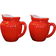 TWO: Hazel Atlas Gay Rainbow Orange Milk Pitchers