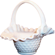 Milk Glass Hobnail Basket