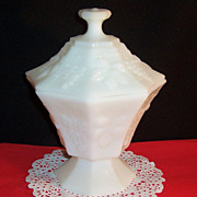 Anchor Hocking Milk Glass Grape & Leaf Covered Candy