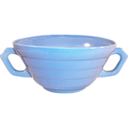 Hazel Atlas Moderntone Blue Cream Soup Bowl