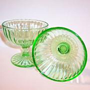 TWO Depression Green Hazel Atlas Glass Sherbets