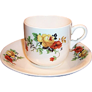 REDUCED Homer Laughlin Poppy & Rose Cup & Saucer