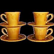 SET OF 4: Homer Laughlin Granada Golden Harvest Coffee Cups & Saucers