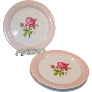 FOUR Dinner Plates:  Homer Laughlin Moss Rose (Great Cond.  & Double Marked)