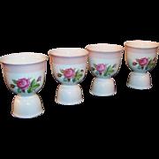 SET of 4: Homer Laughlin Moss Rose Egg Cups