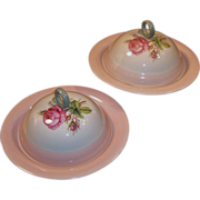 TWO Homer Laughlin Moss Rose Covered Muffin / Pancake Servers