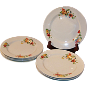 "SETS of 4: Homer Laughlin Poppy & Rose 9"" Dinner Plates (2 Sets of 4 are ..."