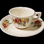 REDUCED Homer Laughlin Poppy & Rose Espresso / Demitasse Cup & Saucer Set