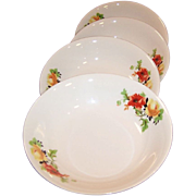 "REDUCED SETS of FOUR: Laughlin Poppy & Rose Fruit / Berry Bowls (5 1/16"")"