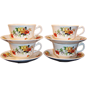 SET of 4: Homer Laughlin Poppy & Rose Brittany Cups & Saucers