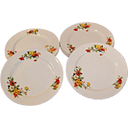 SETS of FOUR Dinner Plates:  Homer laughlin Poppy & Rose  (2 Sets Available)