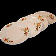 """SET of 4: Homer Laughlin Poppy & Rose 9"""" Dinner Plates"""