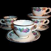 1940's Homer Laughlin: Bristol Pattern   SET of 4 Cup & Saucer Sets