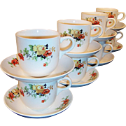 SETS of FOUR:  Homer laughlin Poppy & Rose Cups & Saucers (2 Sets Available)