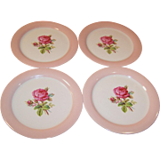 """FOUR 9 1/4"""" Homer Laughlin Swing Moss Rose Dinner Plates"""