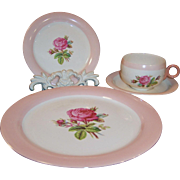 Four Piece Place Setting:  Homer Laughlin Swing Moss Rose