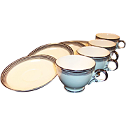 FOUR Homer Laughlin Nautilus Platinum Bands Cup & Saucer Sets