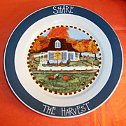 "SALE ""Share The Harvest""  Fall Vintage Decorative Plate"