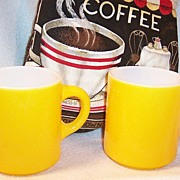 """SET of 2: Bright Yellow Hazelware """"Pebble"""" Textured Stackable Mugs"""