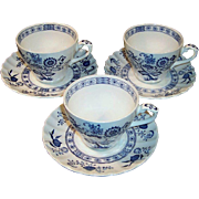 SALE SET OF 3: J & G Meakin Blue Nordic Cup & Saucer Sets
