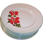 "Set of FOUR: Cuthbertson Poinsettia 7""  Dessert Plates (Only 1 Set Available)"