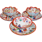 Vintage Geisha Girl Asian Bowls and Saucers