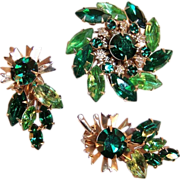 Go Sparkling Green! with this Rhinestone Pin Wheel Brooch & Earring Set