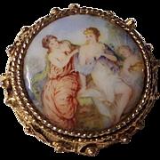 Vintage Porcelain Renaissance Art Brooch Pendant