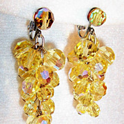 Yellow Multi Faceted Cluster Clip & Dangle Earrings
