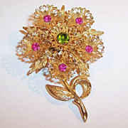 Large Lacy Rhinestone Flower Brooch