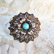 """Delicate 1 1/4""""  Turquoise Brooch Signed: Germany"""