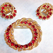 Red Rhinestone Double Circle Wreath: Brooch & Earrings