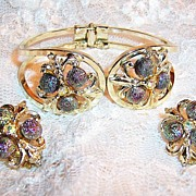 Iridescent Purple Sugar Plums & Fleur De Lis Clamper Bracelet &  Earrings Set