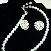 Signed Japan: Simulated White Pearl Choker / Necklace and Hand Wired Earrings