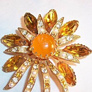 Large Feisty & Fiery Vintage Brooch