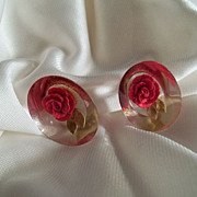 Reversed Carved  Oval Red Rose Earrings