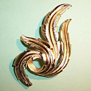 Classic Crown Trifari Brooch  Gold Tone  Swirling Leaves