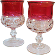 """TWO Excellent: King's Crown Ruby Flashed Water Goblets 5 5/8"""" Tall"""
